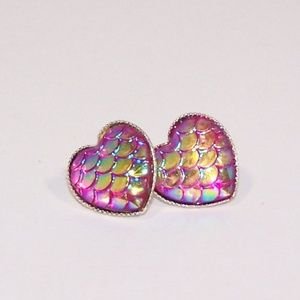 Heart shaped pink mermaid scale earrings